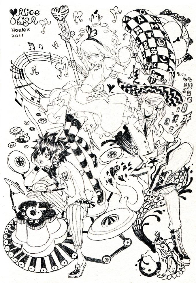 戏剧黑白手绘插画