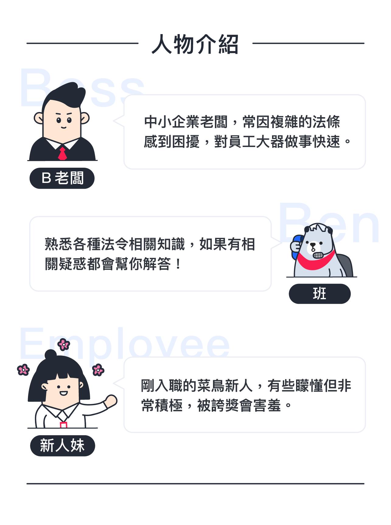 518熊班角色人物介紹(B老闆、班、新人妹)
