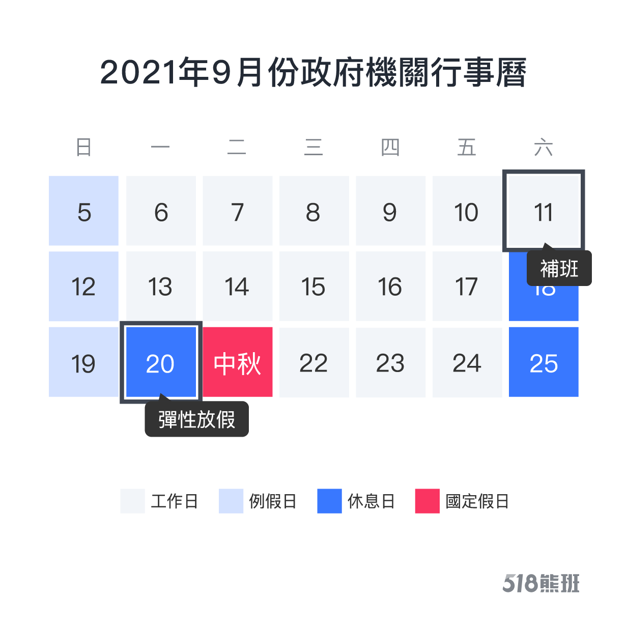 2021年9月份政府機關行事曆